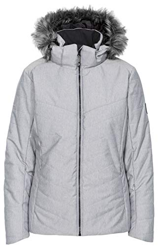 Trespass Wisdom Veste de ski chaude imperméable et coupe-vent pour femme avec capuche zippée amovible, fermetures éclair d'aération sous les bras et poche zippée XXL gris clair