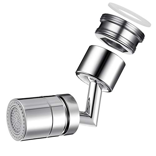 Universal Splash Filter Faucet 720 Degree Rotatable Faucet Sprayer Head Swivel Sink Faucet Aerator, Leak-proof Design with Double O-Ring and ABS Sink Aerator Swivel for Kitchen Bathroom (1 Piece)
