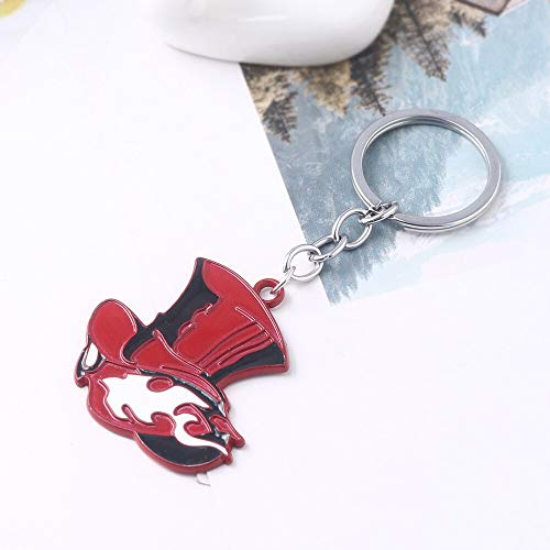 Anime Source Persona 5 Shin Megami Tensei Video Game Metal Red Hat Keychain Key Ring Phantom Thieves of Hearts Joker