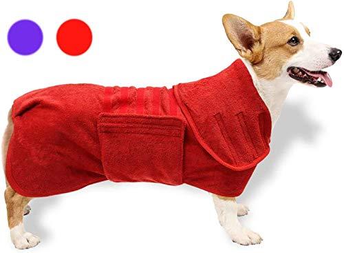 GZGZADMC Badetuch Hund Bademantel, Hundebademantel aus Mikrofaser, Badetuch Hund Bademantel für Kleine Mittlere und Große Hunde, verstellbares Magic-Tape-Design in Hals und Taille - XXL