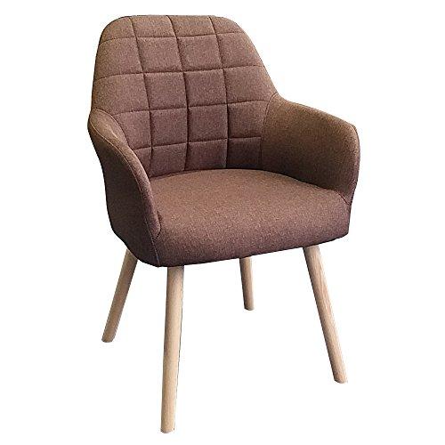 MCTECH® 2X Stuhl Esszimmerstühle Esszimmerstuhl Stuhlgruppe Konferenzstuhl Küchenstuhl Armlehne Büro mit Buchenholz Eiche Bein (Type H, Braun)