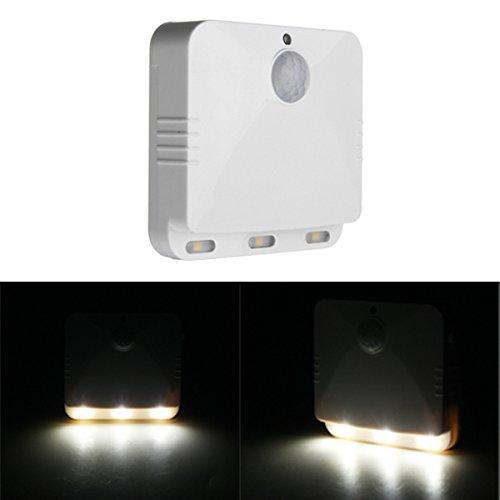 HTAIYN Lámpara Blanca operada con Pilas de la luz de la Noche del Sensor de Movimiento de PIR LED para el Dormitorio casero Popular