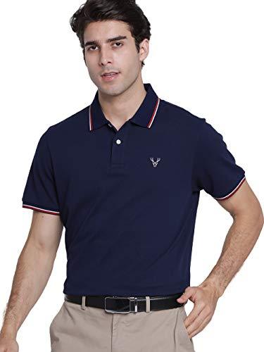 JCFL Polo Uomo Basic a Manica Corta, T-Shirt per Tennis o Golf con Logo, 100% Cotone con Colletto e Chiusura a Bottoni, Colore Blu Scuro Taglia L