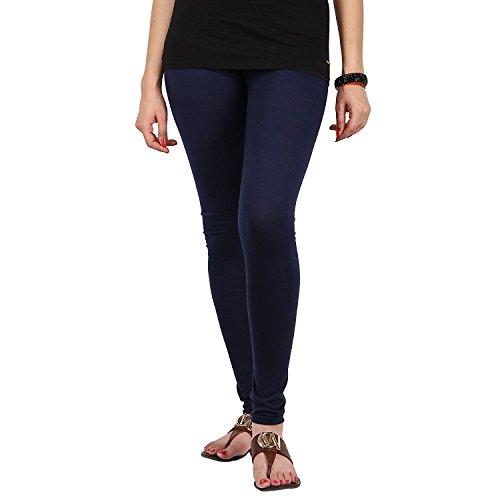Fablab Women's Cotton Lycra Slim Fit Churidar Leggings (FLCLCOMBO2NBLB, Navy Blue, Black, Free Size) - Combo Pack of 2
