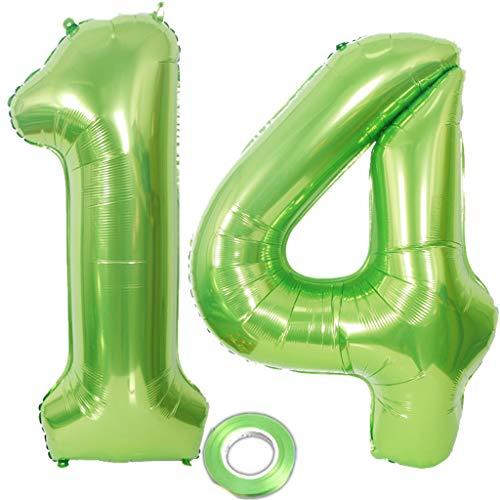 2 Luftballons Zahl 14 Grün , Nummer 14 Luftballon Grün Mädchen , Luftballons Zahl 14 Geburtstag XXXL Grün Riesen Folienballon 40 zoll,40