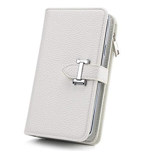 Portemonnee met mobiele telefoonhoes telefoonvak Compatibel met Samsung Galaxy S8 met creditcardvakje geldklemmen leren hoes magnetische beschermhoes, dames/heren, wit