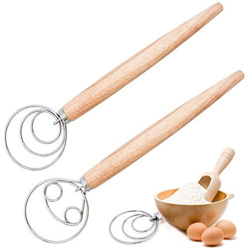 Bakiauli Schneebesen,Dänischer Teig Schneebesen Backwerkzeug mit Holzgriff Brotkuchenherstellung(2stk