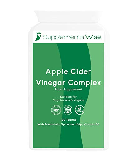 Apple Cider Vinegar Tablets - 120 - High Strength ACV Complex with Vitamin B6, Kelp, Spirulina, Bromelain - Diet and Metabolism Supplement - Hunger Suppressant - Made in The UK for Men and Women