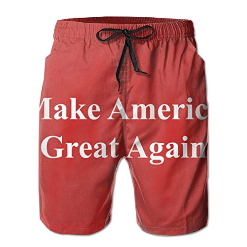 YongColer Men Beach Board Shorts Swim Trunks Bathing Suit - Make America Great Again Red