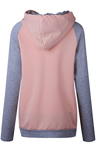 ECOWISH Damen Kontrastfarbe Pulli Pullover Rollkragen Sweatshirt Kapuzenpulli Top Hoodies Rosa L - 5