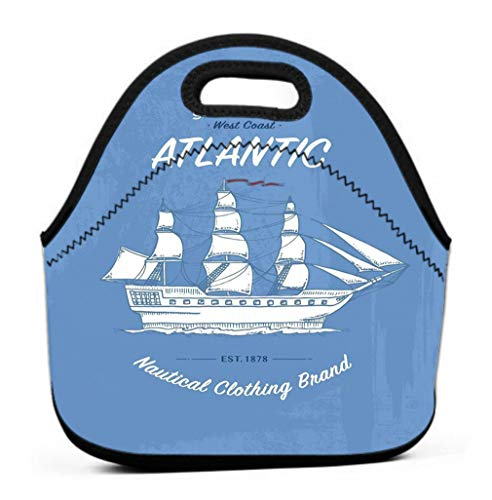 Insulated Lunch BagWaterproof Lunch Bags for WorkInsulated Lunch Box Cool print marine ship sea transport design animal grunge background vintage print marine ship