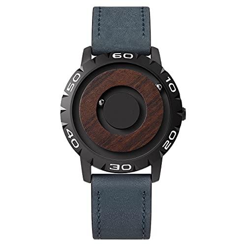 EUTOUR Herren Uhr Armbanduhr, Magnetische Uhren Ausgefallene Minimalistische Unisex Uhren Schweizer Quarzuhr mit Leder Armband 40mm