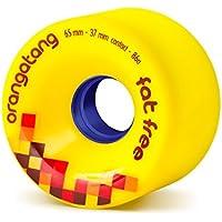 Orangatang Fat Free 65 mm 86a Freeride Longboard Skateboard Wheels (Yellow, Set of 4)