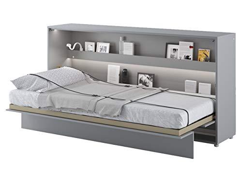 Mirjan24 Schrankbett Bed Concept, Wandklappbett inkl. Lattenrost, V-Bett, Wandbett Bettschrank Schrank mit integriertem Klappbett Funktionsbett (BC-06, 90 x 200 cm, Grau/Grau, Horizontal)