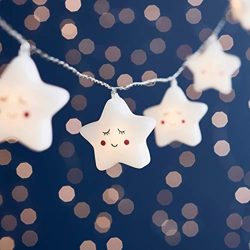 Lights4fun - Catena di Luci Decorative a Pile con 12 Stelle e Luci LED Bianco Caldo per Bambini