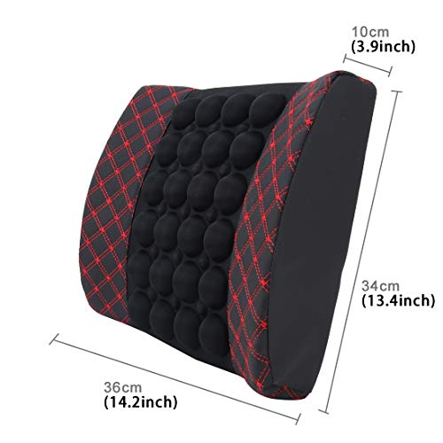 Car Seat Covers Four Season Chemical Fiber Wrapping Lumbar Seat Relaxation Waist Support Cushion for Car Office Family (Color : Red)