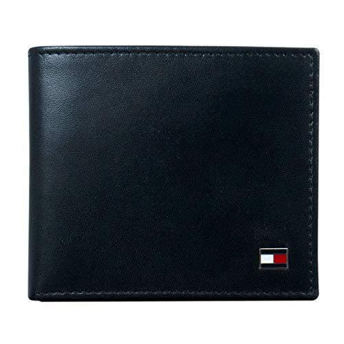 Tommy Hilfiger Herren Geldbörse aus Leder – schmales Faltfach mit 6 Kreditkartenfächern und abnehmbarem Ausweisfenster - Schwarz - Einheitsgröße