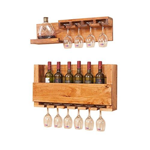 Wall Mount Eco-Friendly Pine Wood Wine Bottle Shelf Holder Wine Goblet Holder Hanging 10 Wine Glass Shelf Storage Unit Floating Shelves Organiser Countertop for Restaurants, Daily Home Pack of 2