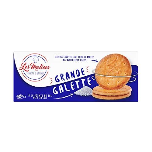 Les Malices - Grande Galette burro salato 12 confezioni da 9 biscotti (1800 gr) formato famiglia - fatti in Francia