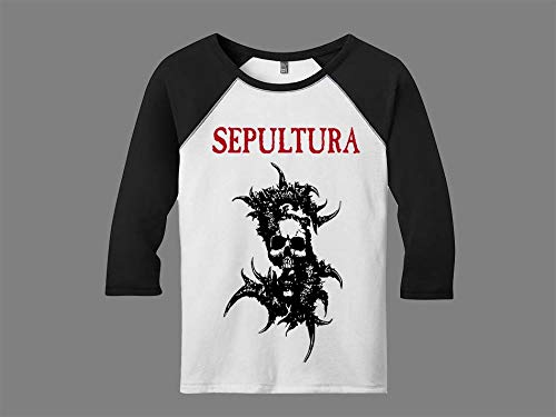 Camiseta Raglan Manga 3/4 Feminina Sepultura Metal Tamanho:G;Cor:Branco-Preto