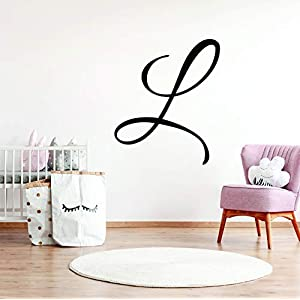 Boy's Nursery Single Initial Wall Decal Sticker Wall Name for Custom Font and Color Choice Decor for Name Decal (21″ High)