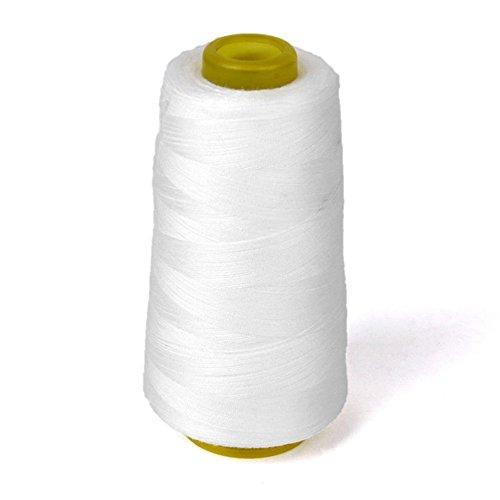 3000 yardas de hilo overlocking para máquina de coser industrial de poliéster hilo metro conos (blanco)