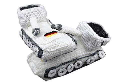 Original Panzer Schuhe Hausschuhe Pantoffeln Handarbeit Schnee Weiß Gr 38-43 Neu