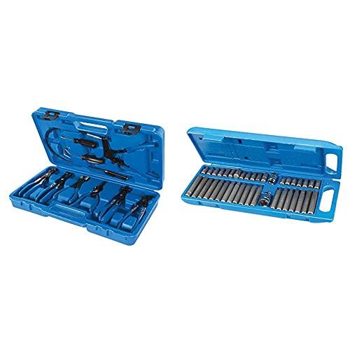 Silverline Tools 984748 Juego De Alicates Para Abrazaderas De Mangueras, Azul, 18-54 Mm + 881641 Puntas Hexagonales, Torx Y Spline, 40 Pzas (40 Pzas)