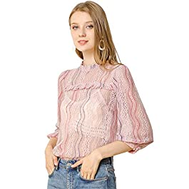 Allegra K Women's Ruffle Neck Blouse 3/4 Sleeve Sheer Lace Tops