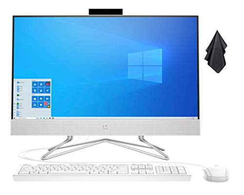 2021 Newest HP 23.8' FHD Non-Touch All-in-One Desktop Computer, AMD Athlon Silver 3050U Processor 2.3 GHz, 8 GB RAM, 256 GB PCIe SSD, DVD, Webcam, WiFi, Bluetooth, Windows 10 Home + Oydisen Cloth