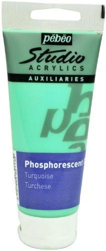 Pébéo – Studio Acrílics 100 ml Gel fosforescente azul turquesa – Enlace acrílico para pintura fosforescente autoluminiscente – Gel de pintura fosforescente Pébéo acrílico – Azul turquesa 100 ml