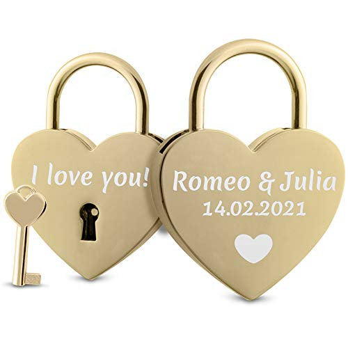 Herz Liebesschloss mit Gravur und Schlüssel - herzförmiges Schloss mit Motiv, Namen und Datum (Gold)
