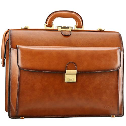 Banuce Vintage Leather Briefcase for Men with Lock Attache Case Hard 15.6 Inch Laptop Business Bags Medical Doctor Bag Lawyer Bags Brown