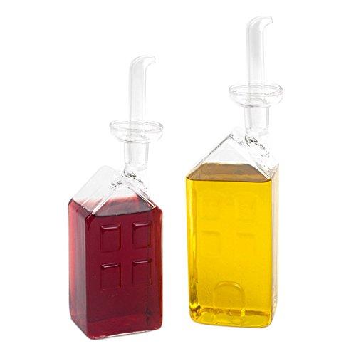 Balvi Set vinagreras La VIlle Color transparentes Convoy aceite y vinagre para cocina Set de cocina original de diseño en forma de casas Set vinagrera y aceitera antigoteo fabricado en borosilicato Borosilicato 22x6x5 cm