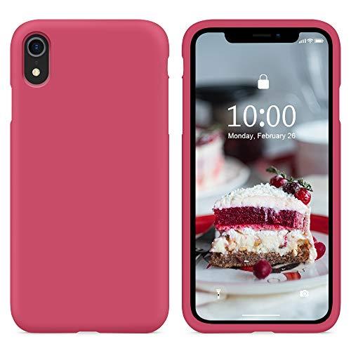 SURPHY Cover Compatibile con iPhone XR, Custodia per iPhone XR Silicone Cover Antiurto con Fodera in Microfibra, Anti-Graffio Full Body Protettiva Case per iPhone XR 6.1 Pollici (2018), Ibisco