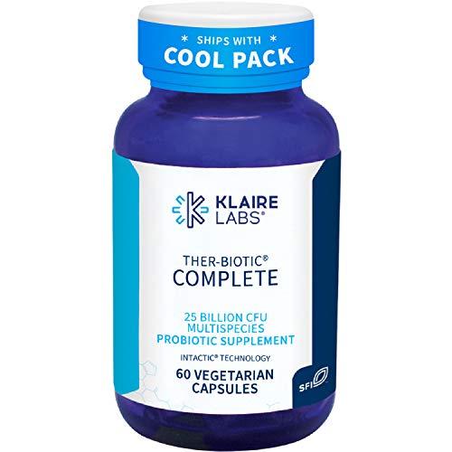 Klaire Labs Ther-Biotic Complete - 25 Billion CFU Probiotic Supplement - Hypoallergenic Probiotics for Men + Women - Digestive, Gut Health + Immune Support - Clean, Non-GMO + Dairy-Free (60 Capsules)