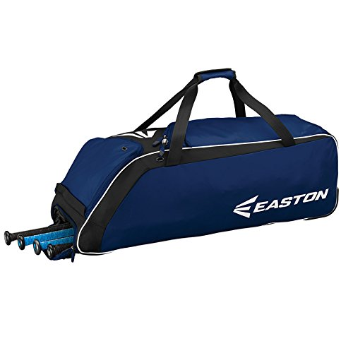 EASTON E510W Bat & Equipment Wheeled Bag | Baseball Softball | 2020 | Navy | 4 Bat Compartment | Vented Pockets - Minimize Odor & Quick Dry | Removable Shoe Panel | Zippered Pockets | Fence Hook