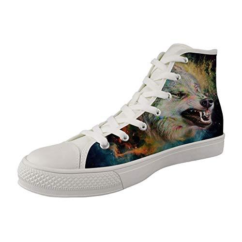 MODEGA drucken Wolf hohe Spitzenschuhe für Männer Wolf Druck hohe Schuhe für Jungen Bequeme Sportschuhe Wölfe drucken Sportsc