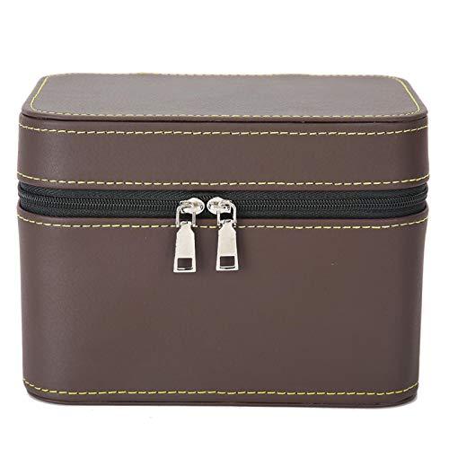 Mano de obra exquisita con caja de almacenamiento portátil de cuero PU con cremallera resbaladiza, usada para almacenar múltiples pulseras(Brown)
