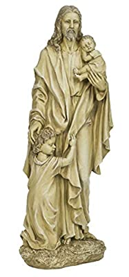 "Joseph's Studio by Roman - Jesus with Children Statue, 24"" H, Garden Collection, Resin and Stone, Decorative, Religious Gift, Home Outdoor and Indoor Decor, Durable, Long Lasting"