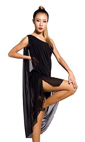SCGGINTTANZ G3030 Latin Latein Der Ball Tanz Gesellschaftstanz Professionell großes schwingendes Design Swing Kleider (M, (SBS) Black)