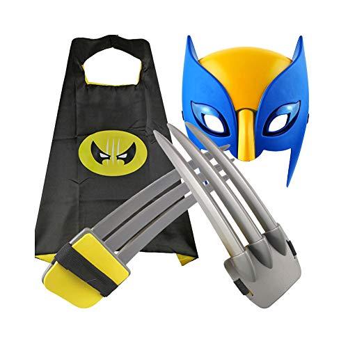 WEW 1 par (10.43 Pulgadas) de plástico ABS Seguro para niños Garras de Wolverine Juguetes Capa + máscara (Juego de 3 Piezas) Accesorios para Cosplay de películas aplicar a Disfraces de Halloween