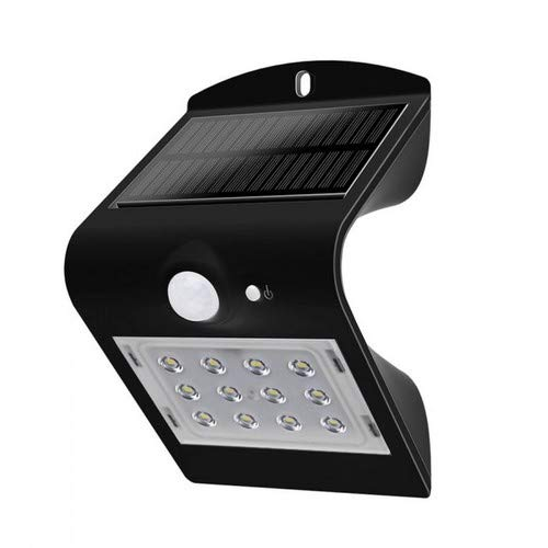 LED wandlamp 1,5 W met zonnepaneel en sensor, zwart