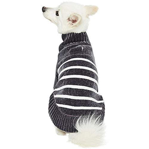 """Blueberry Pet Cozy Soft Chenille Classy Striped Dog Sweater in Chic Grey, Back Length 12"""", Pack of 1 Clothes for Dogs"""