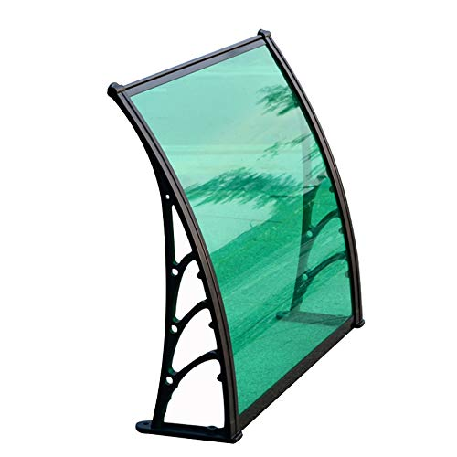 LIANGLIANG Awning Rain Door Canopy, Polycarbonate Rain and Snow Hail Ultraviolet Light, Plastic Steel Bracket Balcony Bay Window Patio (Color : Green, Size : 120x60cm)
