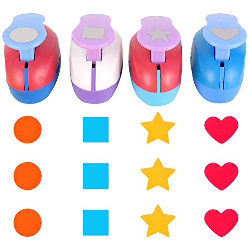 Buytra Scrapbook Paper Punchers Hole Punch 1 Inch  Shape Punches for Kids Paper Crafts Card Making Scrapbooking  4 Shapes Including Circle Star Heart Square Punch Color May Vary
