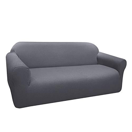 Granbest Funda de Sofá Elástica Súper Gruesa con Diseño Elegante Universal Funda Sofá 3 Plaza Antideslizante Protector Cubierta de Muebles(3 Plaza, Gris Claro)