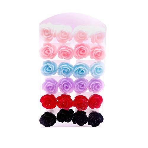 RIsxffp - 12 paia di orecchini a forma di fiore rosa realistici e colorati, anallergici, ideali per tutti i giorni, per appuntamenti e feste B3013# Colore casuale