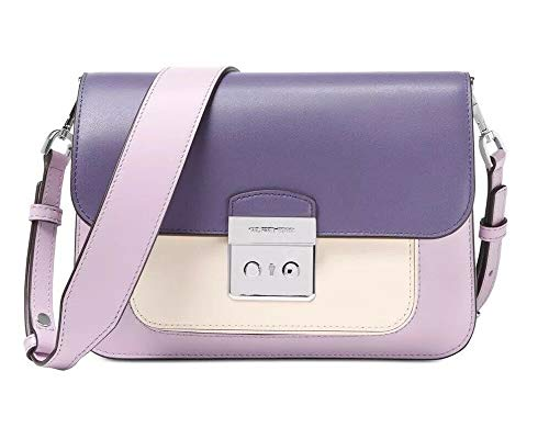 Smooth Leather; Colorblock: Light Quartz /Light Cream /Amethyst (Purple/White) 2 interchangeable straps; 1 crafted from leather & 1 crafted from woven canvas; 15.5-in to 21.5-in strap drop. Push-Lock Flap Closure; Silver-tone hardware. Exterior: back...