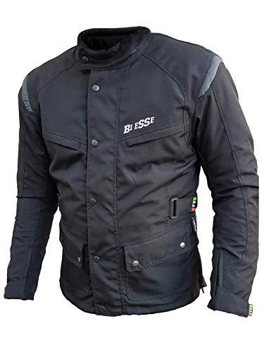 BI ESSE - Giacca giubbotto da moto in cordura, Uomo, Tessuto impermeabile, Fodera termica rimovibile, Protezioni Certificate (Nero, s)